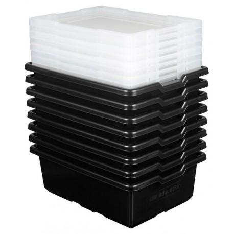 Fekete rendeződoboz 7 db-os készlet, tetővel